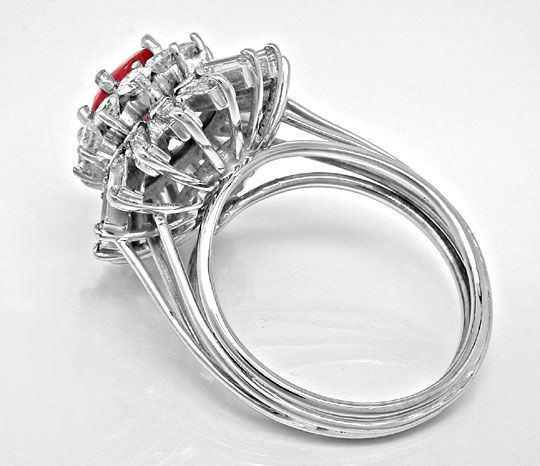 Foto 3, Ring 1,8ct Diamanten Handarbeit 1,65ct Rubin Luxus! Neu, S8919