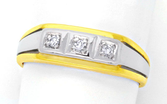 Foto 2, Diamantring Gelbgold Weissgold Diamanten River Shop Neu, S8920