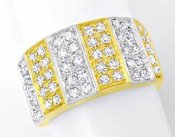 Foto 1, Diamant Ring 0,85ct 18K Gelbgold Weissgold, Luxus! Neu!, S8925