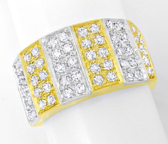 Foto 2, Diamant Ring 0,85ct 18K Gelbgold Weissgold, Luxus! Neu!, S8925