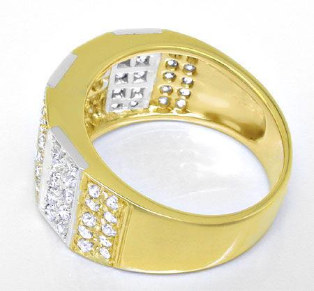 Foto 3, Diamant Ring 0,85ct 18K Gelbgold Weissgold, Luxus! Neu!, S8925