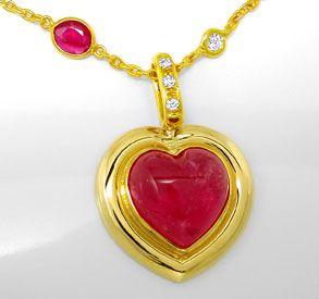 Foto 1, Diamant Turmalin Rubine Handarbeits Kollier Luxus! Neu!, S8928