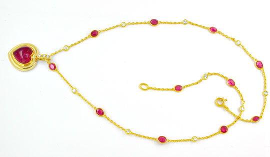 Foto 3, Diamant Turmalin Rubine Handarbeits Kollier Luxus! Neu!, S8928