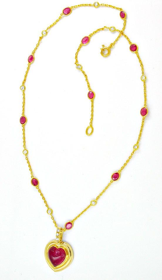 Foto 4, Diamant Turmalin Rubine Handarbeits Kollier Luxus! Neu!, S8928