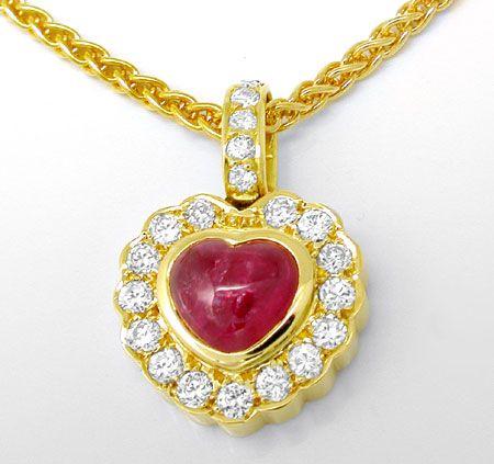 Foto 2, Diamantkollier 1,1ct Herz Rubin Cabochon 18K Luxus! Neu, S8929