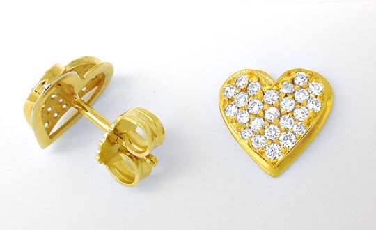 Foto 1, Diamant Herz Ohrstecker 0,47 Brillanten 18K Luxus! Neu!, S8930