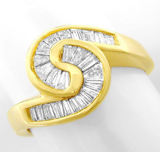 Foto 2, Diamant Ring 0,85ct Trapeze Baguetten 18K GG Luxus! Neu, S8933