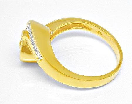 Foto 3, Diamant Ring 0,85ct Trapeze Baguetten 18K GG Luxus! Neu, S8933