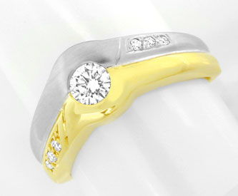 Foto 1, Brillant Ring 0,3ct Diamanten 14K Zweifarbig Luxus! Neu, S8938