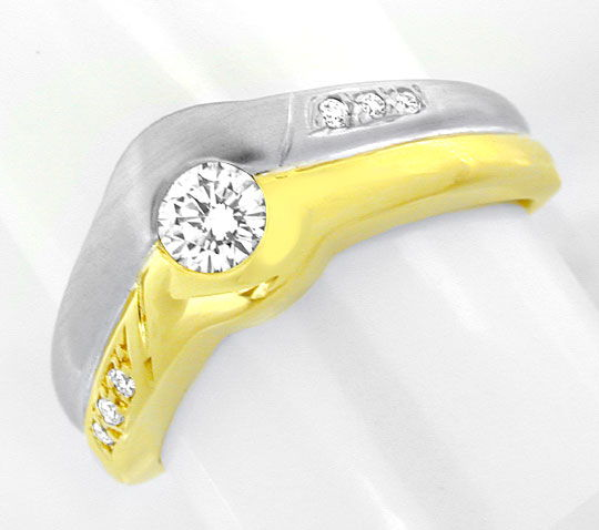 Foto 2, Brillant Ring 0,3ct Diamanten 14K Zweifarbig Luxus! Neu, S8938