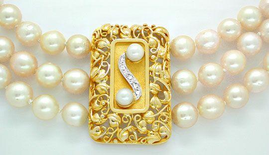 Foto 1, Zuchtperlen Gold Platin Diamant Kollier 3 reihig Luxus!, S8940