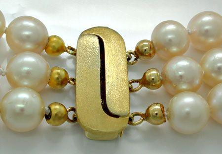 Foto 3, Zuchtperlen Gold Platin Diamant Kollier 3 reihig Luxus!, S8940