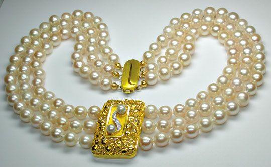 Foto 4, Zuchtperlen Gold Platin Diamant Kollier 3 reihig Luxus!, S8940