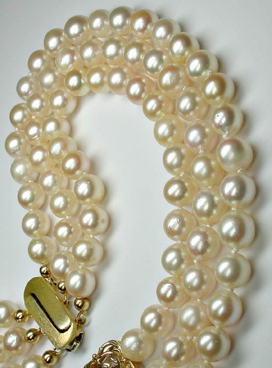 Foto 5, Zuchtperlen Gold Platin Diamant Kollier 3 reihig Luxus!, S8940