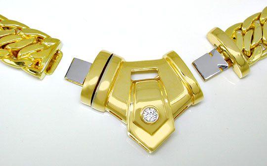 Foto 2, Breites Brillant Kollier, Variabel, Gelbgold Luxus! Neu, S8941