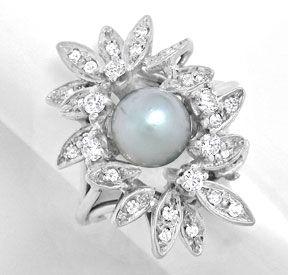 Foto 1, Zuchtperl Diamant Ring Handarbeit Weissgold Luxus! Neu!, S8942