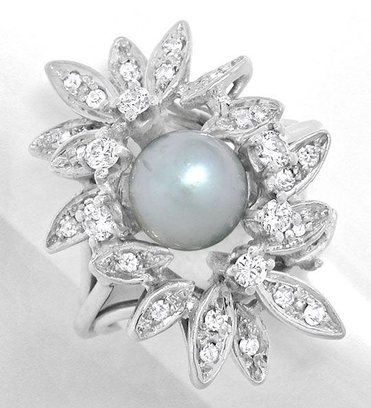 Foto 2, Zuchtperl Diamant Ring Handarbeit Weissgold Luxus! Neu!, S8942