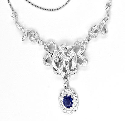 Foto 1, Diamant Safir Kollier 0.63ct, Saphir 1.05ct Luxus! Neu!, S8943