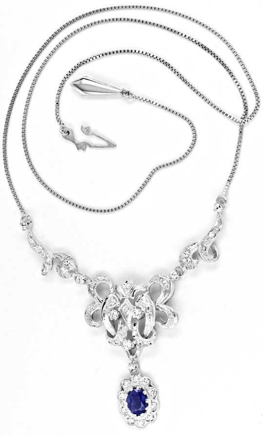 Foto 2, Diamant Safir Kollier 0.63ct, Saphir 1.05ct Luxus! Neu!, S8943