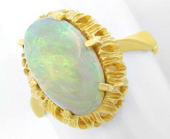 Foto 1, Gelbgold Ring mit Spitzen Milch Opal 3ct 18K Luxus! Neu, S8947