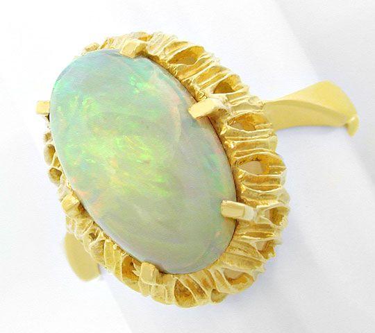 Foto 2, Gelbgold Ring mit Spitzen Milch Opal 3ct 18K Luxus! Neu, S8947