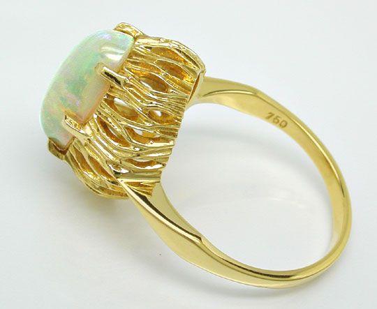 Foto 3, Gelbgold Ring mit Spitzen Milch Opal 3ct 18K Luxus! Neu, S8947