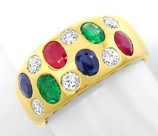 Foto 1, Diamant Safire Rubine Smaragde Band Ring 18K Luxus! Neu, S8949