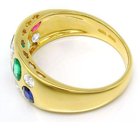 Foto 3, Diamant Safire Rubine Smaragde Band Ring 18K Luxus! Neu, S8949