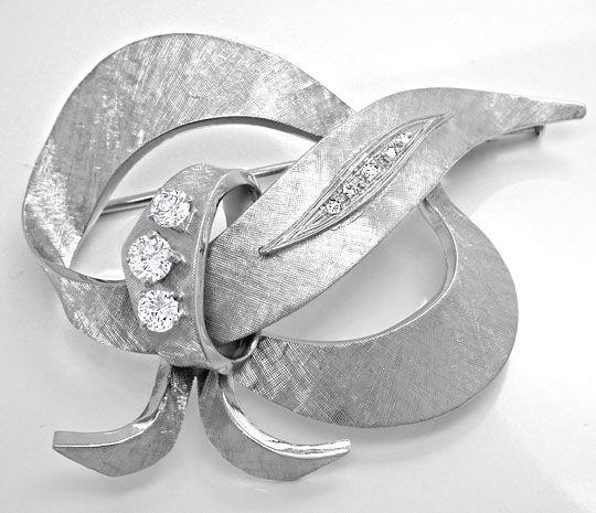 Foto 2, Handarbeits Diamant Brosche 18K Weissgold Gravur Luxus!, S8951