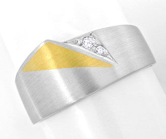Foto 1, Brillant Ring in massiv 950 Platin, Gelbgold Luxus! Neu, S8954