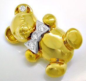 Foto 1, Bärchen Diamant Anhänger,  Brosche 18K massiv Shop Neu!, S8957