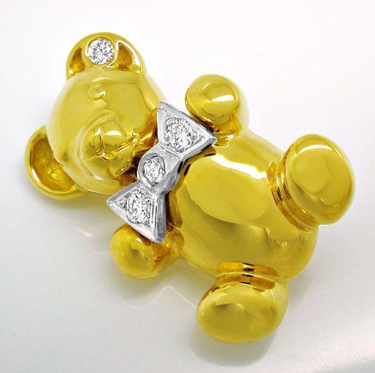 Foto 2, Bärchen Diamant Anhänger,  Brosche 18K massiv Shop Neu!, S8957