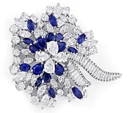 Foto 1, Platin Safir Diamant Brosche 16,70ct Diamanten Juwelier, S8960