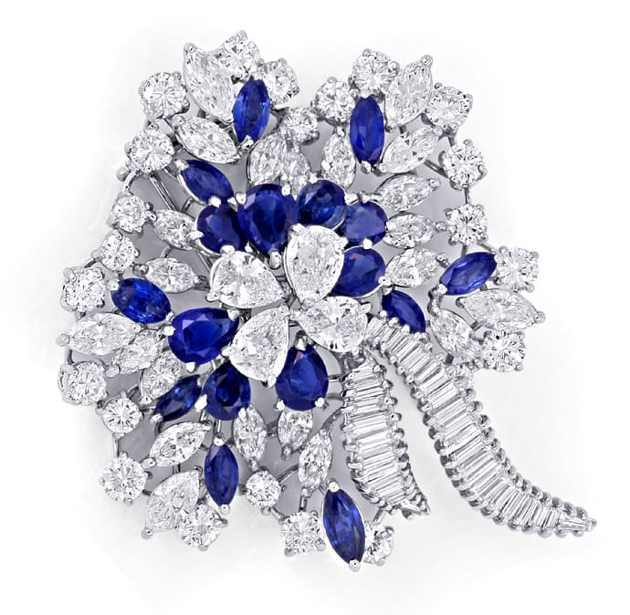 Foto 2, Platin Safir Diamant Brosche 16,70ct Diamanten Juwelier, S8960