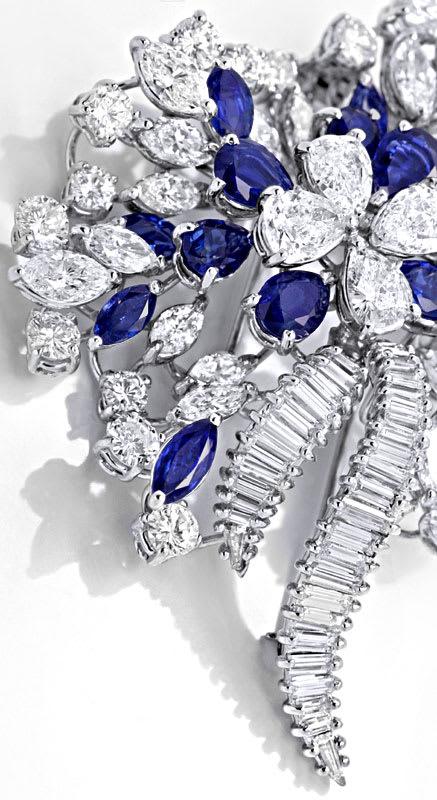 Foto 3, Platin Safir Diamant Brosche 16,70ct Diamanten Juwelier, S8960