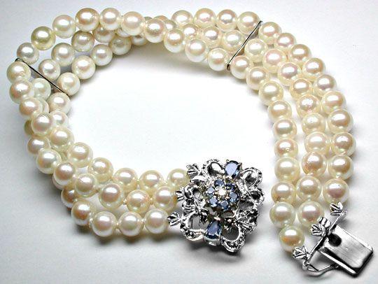 Foto 1, Perlen Armband 3 reihig 18K Safir Schloss Luxus! Neuw.!, S8965