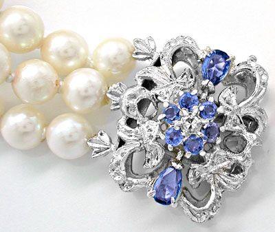 Foto 3, Perlen Armband 3 reihig 18K Safir Schloss Luxus! Neuw.!, S8965