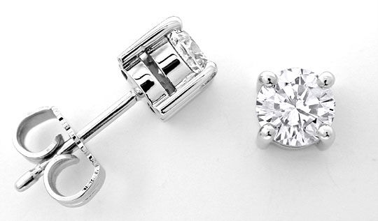 Foto 1, Brillant Solitär Ohrstecker River 1,23ct 18K Luxus! Neu, S8966