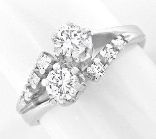 Foto 1, Klassischer Diamant Ring 14K Weissgold River Luxus! Neu, S8969