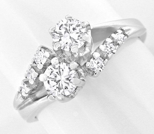 Foto 2, Klassischer Diamant Ring 14K Weissgold River Luxus! Neu, S8969
