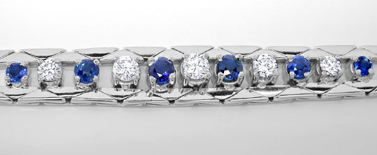 Foto 1, Handarbeits Brillant Safir Armband Weissgold Luxus! Neu, S8973