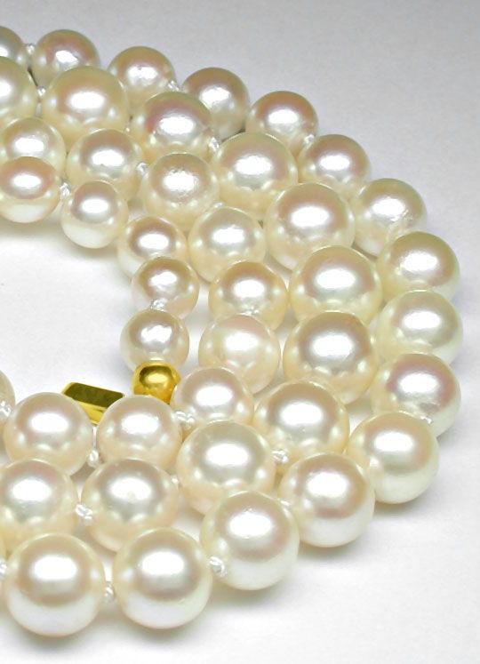 Foto 3, Akoya Spitzen Perlkette 14K Geldgoldschloss Luxus! Neu!, S8974