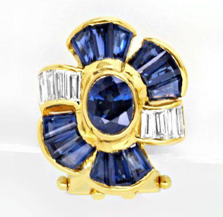 Foto 2, Diamant Safir Ohrringe 3ct 1A Saphir Trapeze Luxus! Neu, S8977