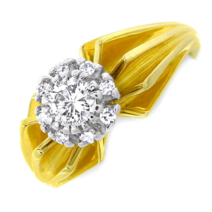 Diamant Ring River Lupenrein massiv Bicolor Luxus! Neu!, Designer Ring