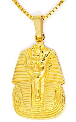 Foto 1, Pharao Kopf Anhänger extramassiv, Kette 18K Gelb Luxus!, S8982