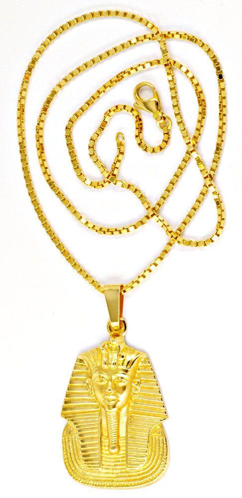 Foto 2, Pharao Kopf Anhänger extramassiv, Kette 18K Gelb Luxus!, S8982