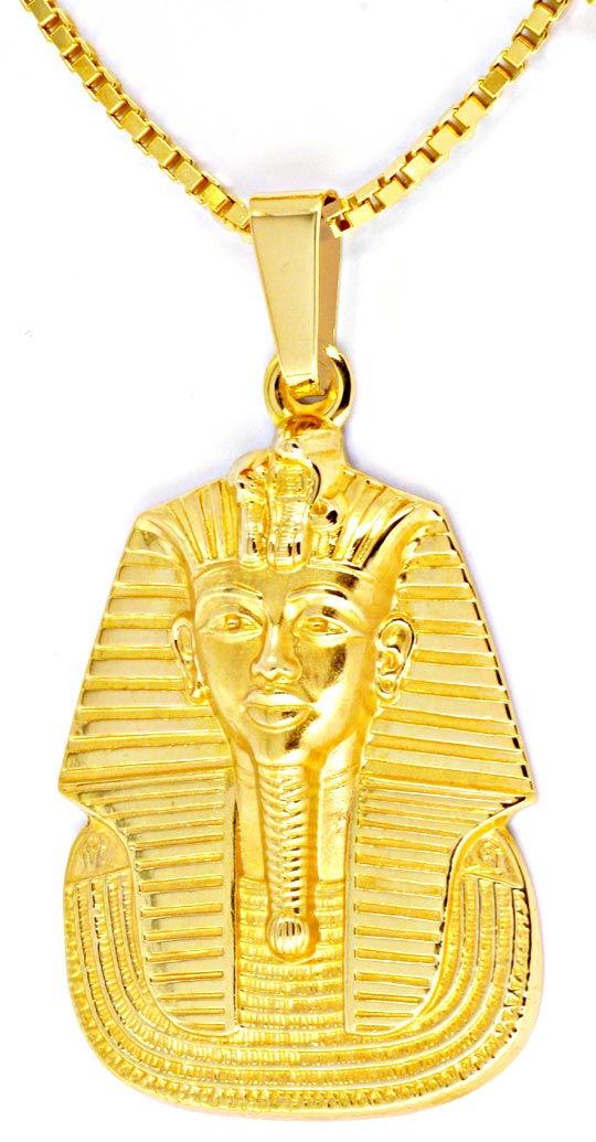 Foto 3, Pharao Kopf Anhänger extramassiv, Kette 18K Gelb Luxus!, S8982