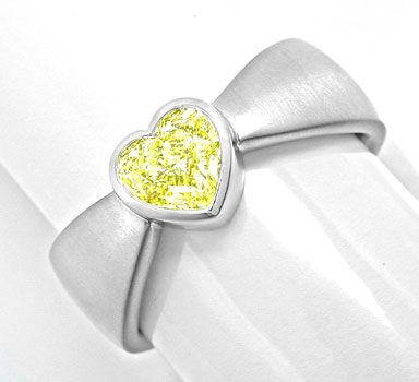 Foto 1, Neu! Herz Zitronen Diamant Ring HRD! 0,78ct! VS! Luxus!, S8983