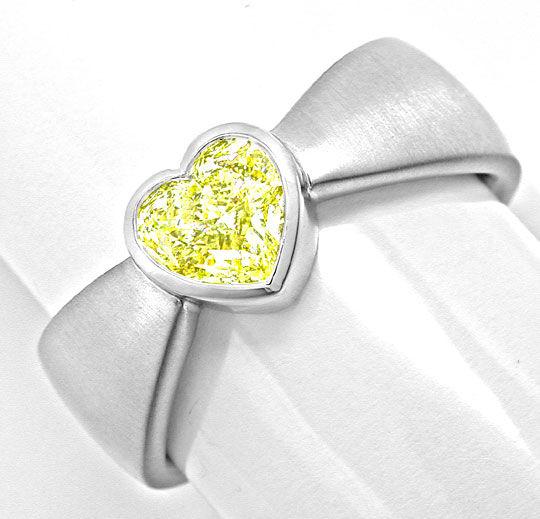 Foto 2, Neu! Herz Zitronen Diamant Ring HRD! 0,78ct! VS! Luxus!, S8983