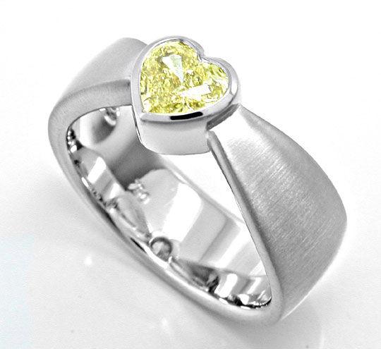 Foto 3, Neu! Herz Zitronen Diamant Ring HRD! 0,78ct! VS! Luxus!, S8983